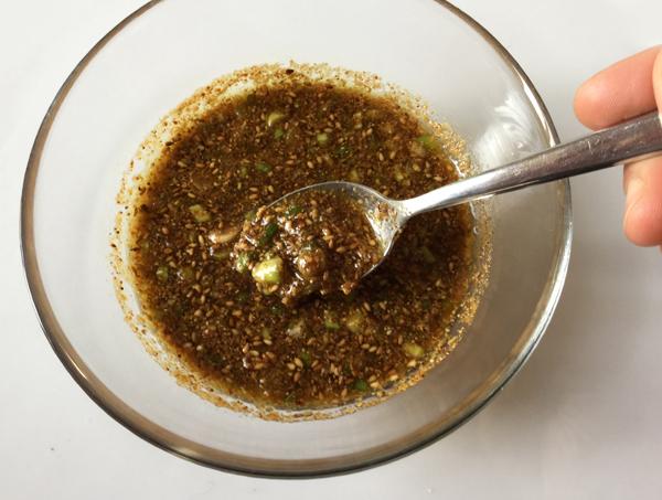 salsa con sesamo, zenzero, cipolotti