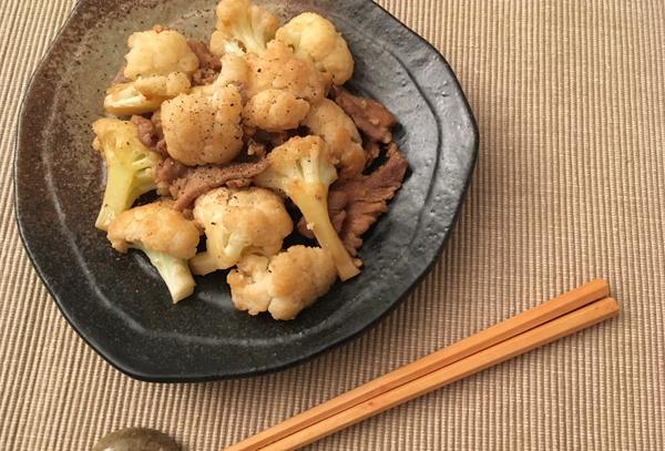 cavolfiore e carne saltati con la salsa di ostrica
