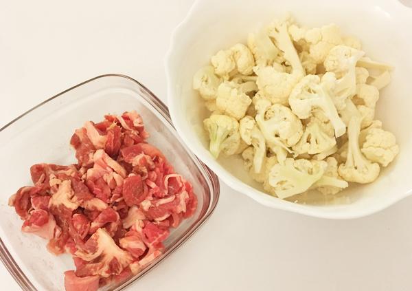 cavolfiore e carne saltati alla salsa di ostrica