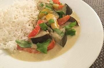 curry verde con riso basmati