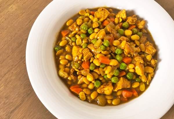 pollo e soia al curry