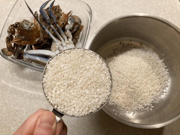 riso bollito con granchio