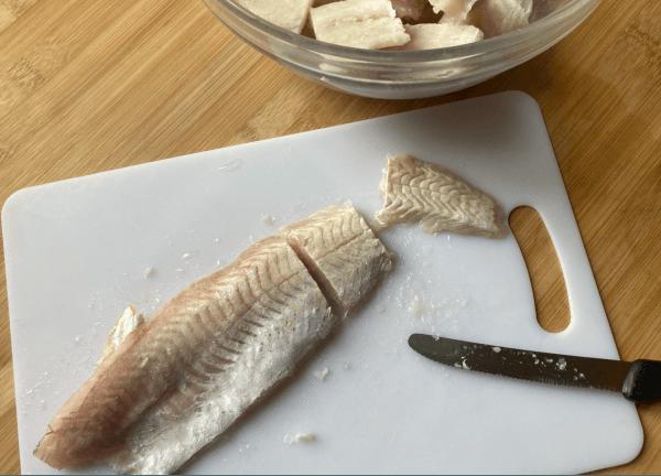 polpettine di pesce con edamame e carota